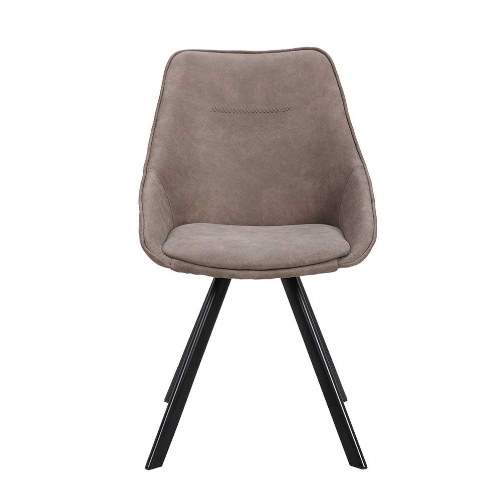 Esstisch Stühle in Taupe Microfaser Metallgestell (2er Set)
