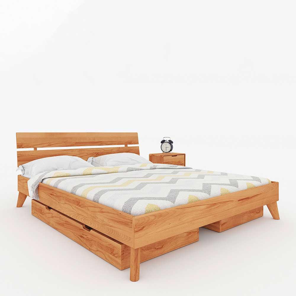 Holzbettgestell aus Kernbuche Massivholz Schubladen