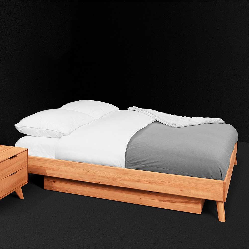 Schubkastenbett aus Kernbuche Massivholz eine Person