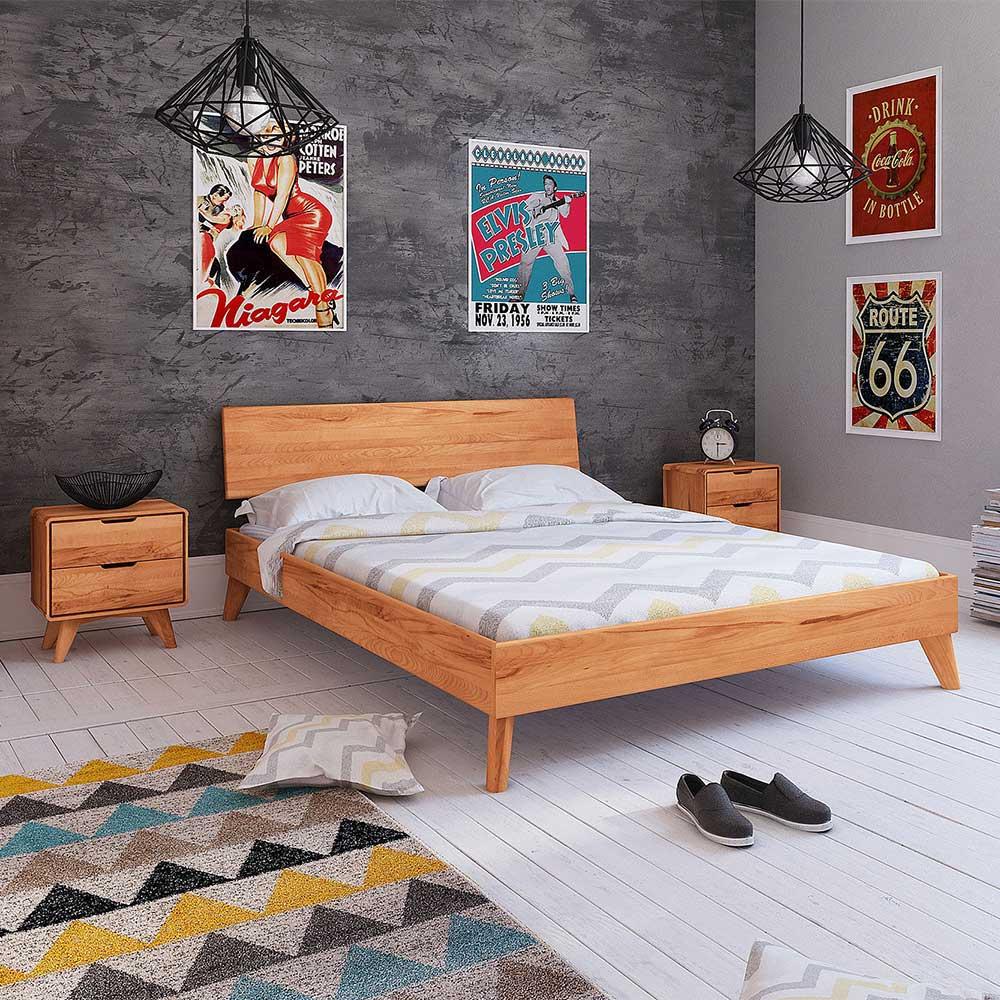 Holz Doppelbett aus Kernbuche Massivholz Nachtkommoden (dreiteilig)