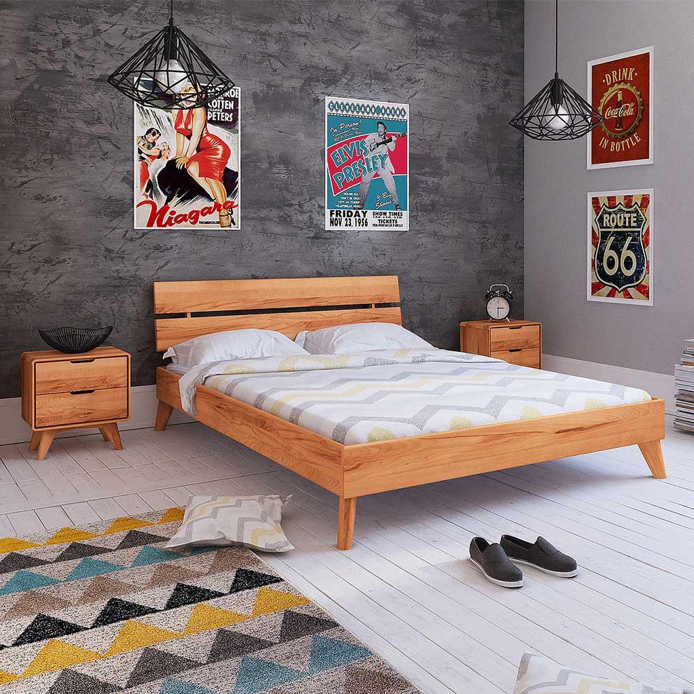 Niedriges Bett aus Kernbuche Massivholz 35 cm Einstiegshöhe (3-teilig)