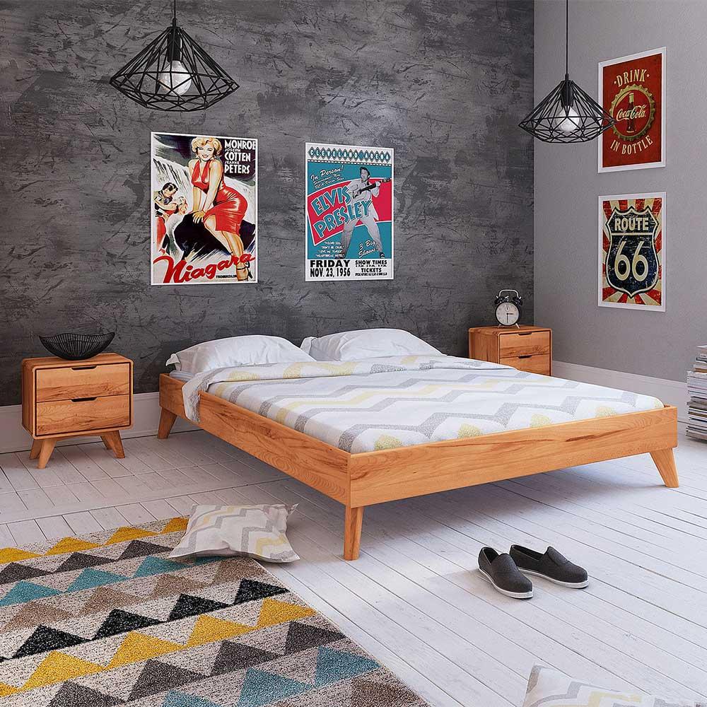 Doppelbett aus Kernbuche Massivholz Kopfteil (dreiteilig)