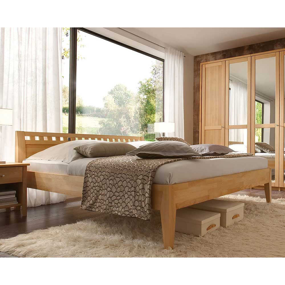 Doppelbett aus Buche Massivholz 4-Fuß Gestell | Schlafzimmer > Betten > Doppelbetten | Basilicana