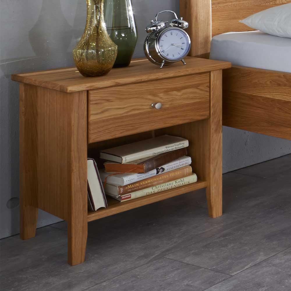 Nachttisch aus Wildeiche Massivholz einer Schublade