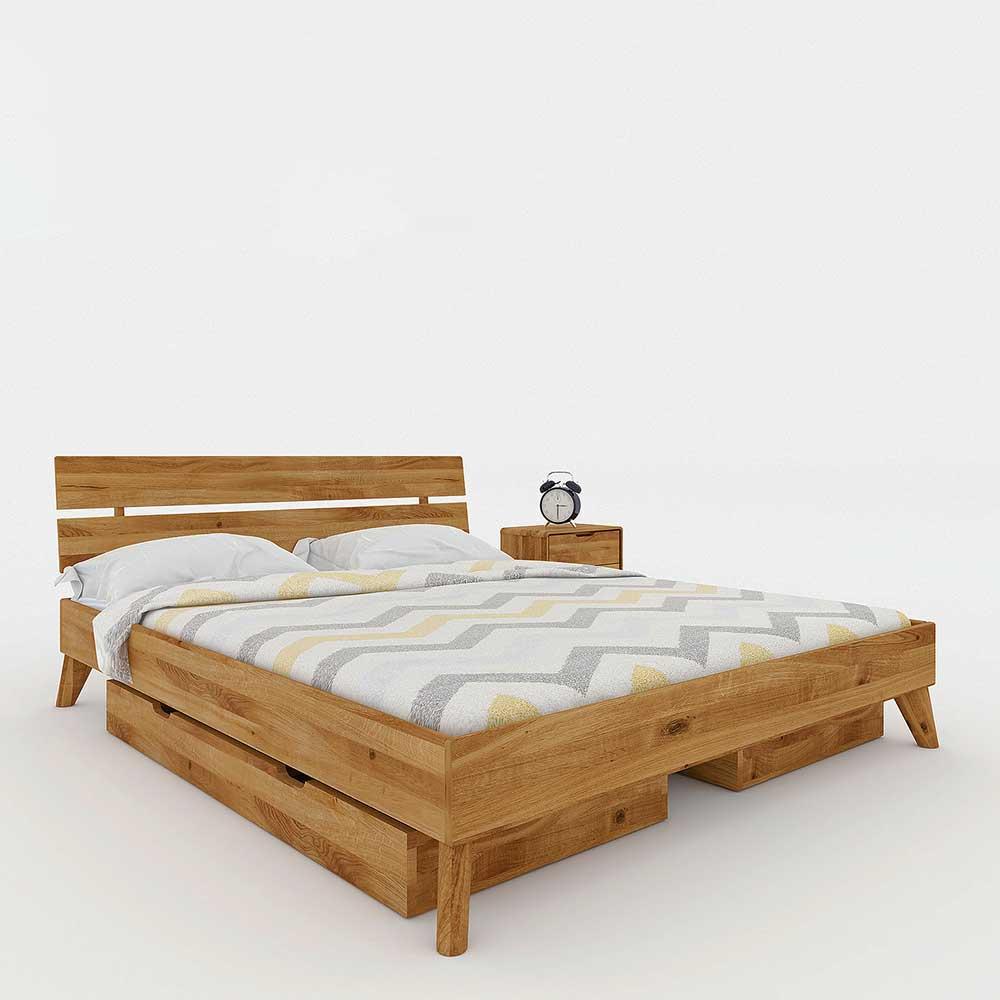 Massivholz Doppelbett aus Wildeiche geölt Schubladen