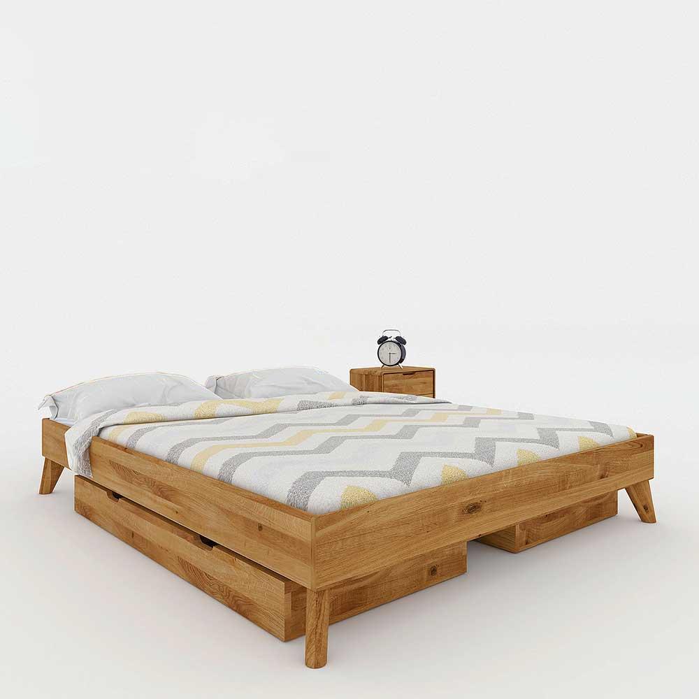 Wildeiche Doppelbett ohne Kopfteil massiv geölt