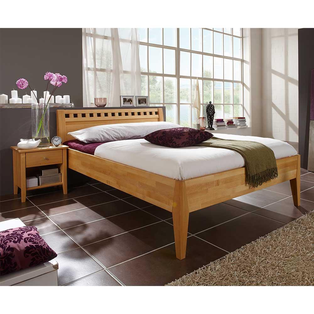 Doppelbett aus Buche Massivholz zwei Nachtkommoden (dreiteilig)