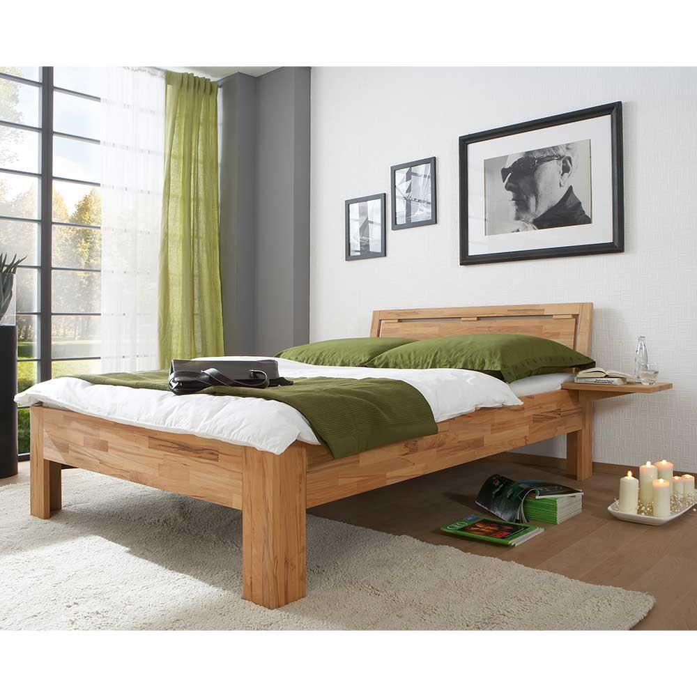 Doppel Bett aus Kernbuche Massivholz zwei Nachttischen (3-teilig) | Schlafzimmer > Betten > Doppelbetten | Basilicana