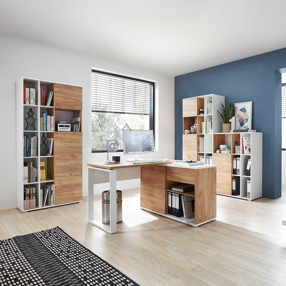 Büromöbel Set in Weiß Wildeichefarben (4-teilig) | Büro > Büromöbel-Serien | Holz | Holzwerkstoff | Möbel Exclusive