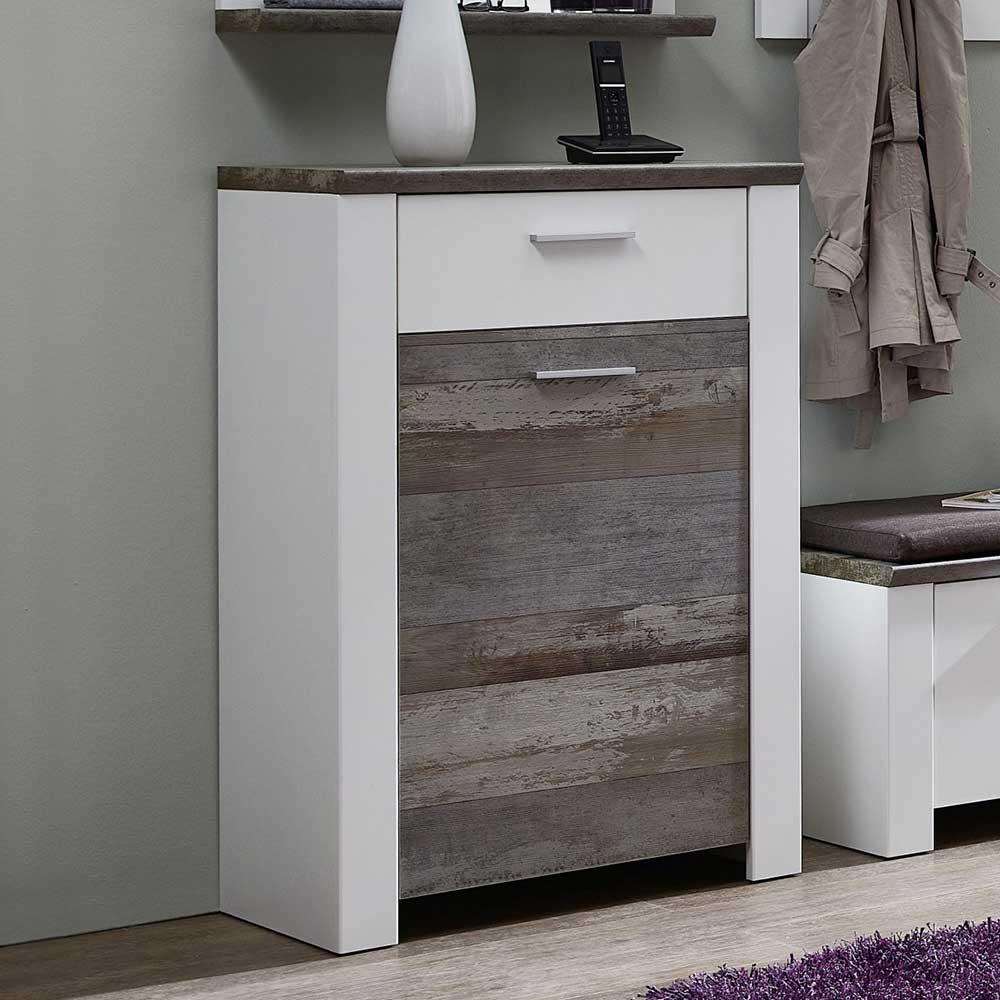 Garderoben Kommode in Weiß und Treibholz Optik 105 cm hoch