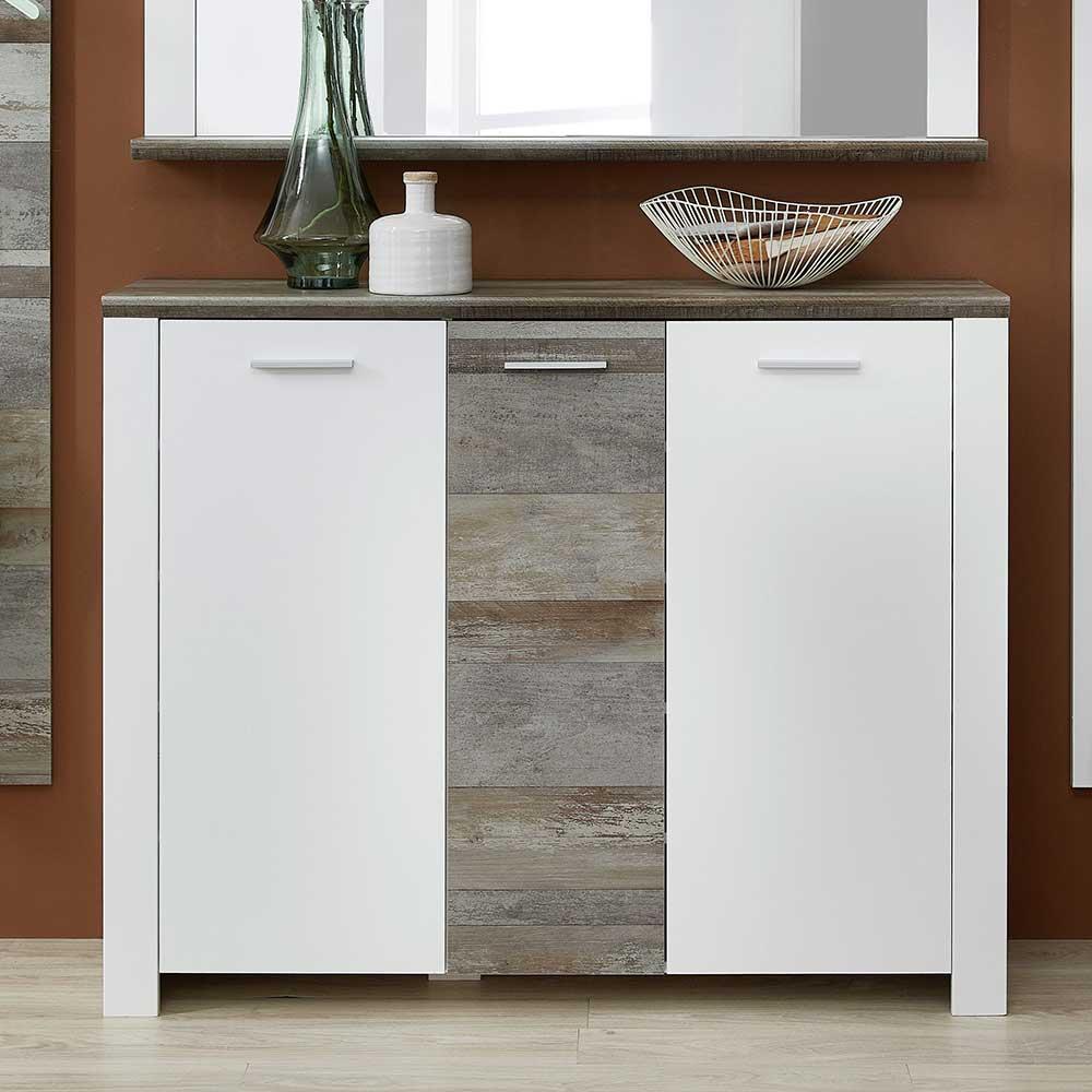 Garderobenschuhschrank in Weiß und Treibholz Optik 105 cm hoch | Flur & Diele > Schuhschränke und Kommoden > Schuhschränke | BestLivingHome