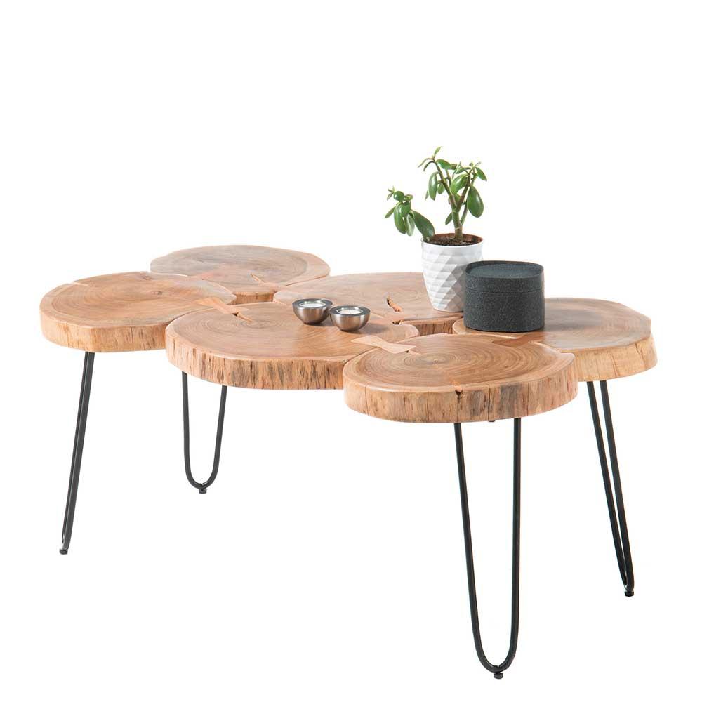 Baumscheiben Couchtisch aus Akazie Massivholz 4-Fußgestell aus Metall