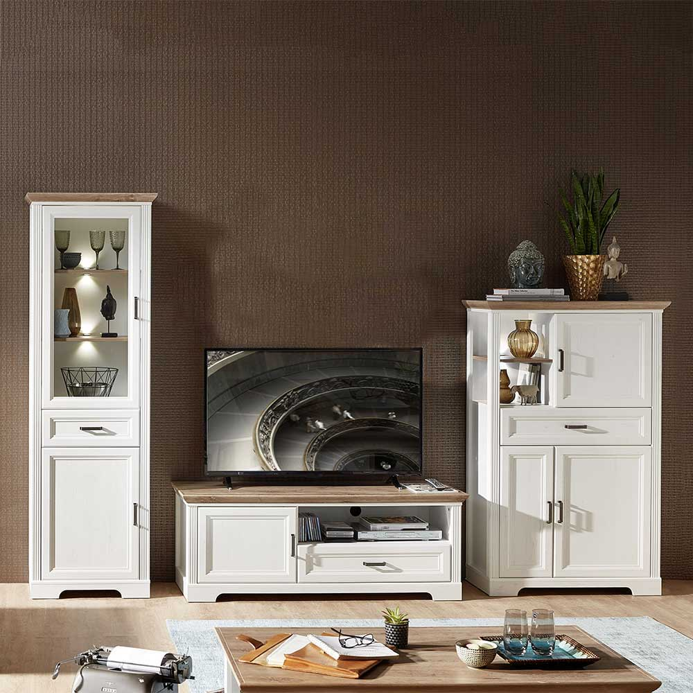 Beleuchtete TV Wohnwand im Landhausstil Weiß und Eichefarben (dreiteilig)