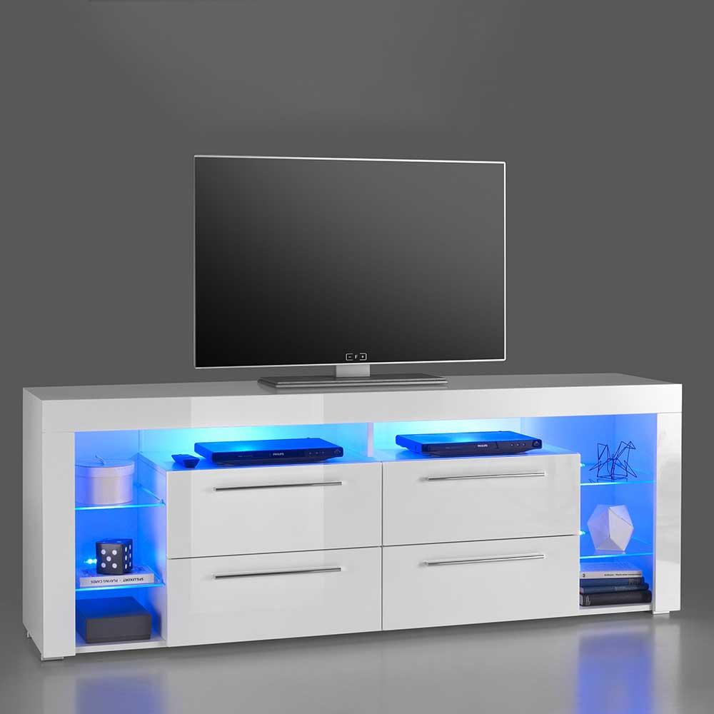TV Möbel mit LED Beleuchtung Hochglanz Weiß