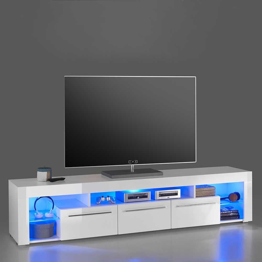 Hochglanz TV Sideboard in Weiß LED Beleuchtung