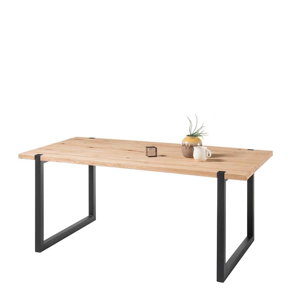 Esstisch aus Eiche Massivholz und Metall 180 cm breit