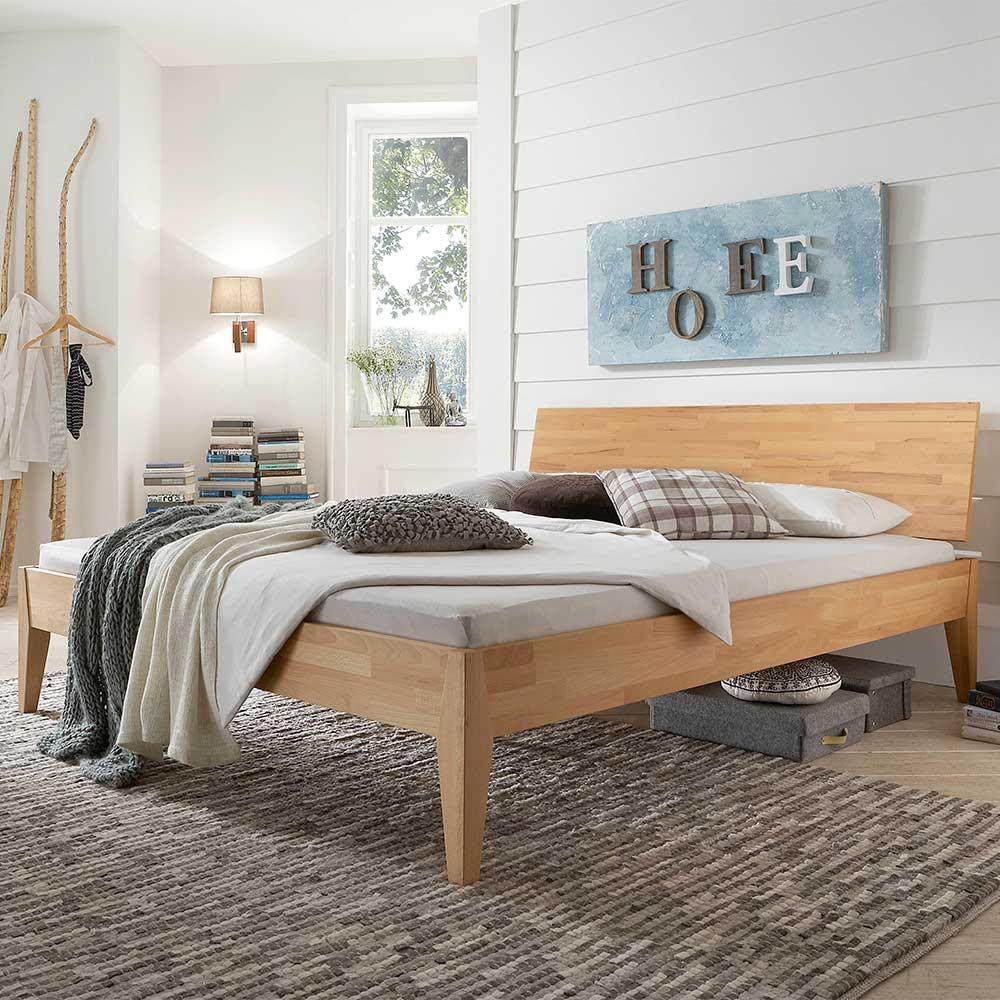 Holzbett aus Buche Massivholz 90 cm Kopfteil