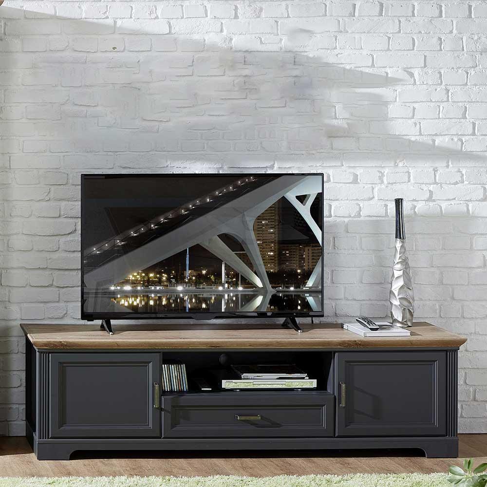 TV Lowboard in Dunkelgrau und Eichefarben Türen