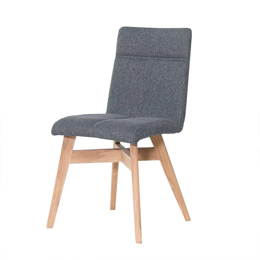 Esstisch Stühle in Grau Webstoff Massivholzgestell in Eiche Bianco (2er Set)