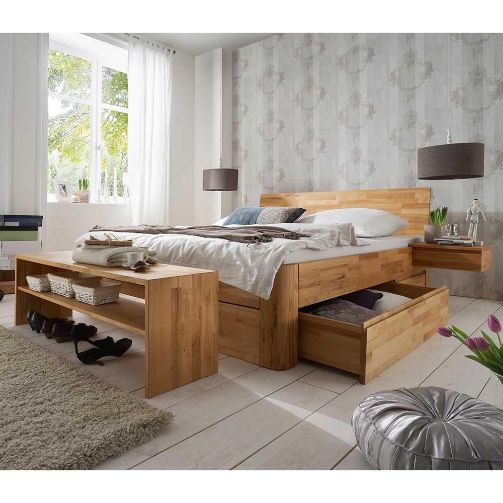 Schlafzimmerset aus Kernbuche Massivholz Schlafzimmerbank (vierteilig)