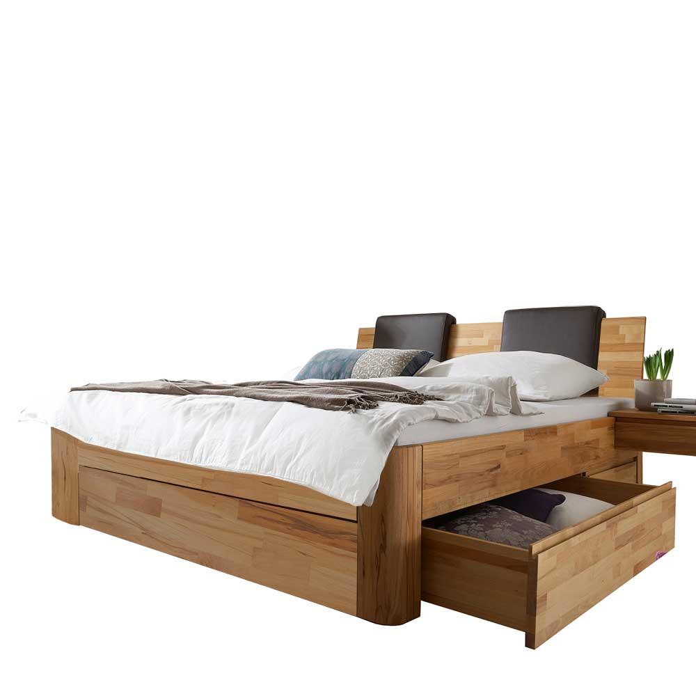 Schubladen Komfortbett aus Kernbuche Massivholz gepolstertem Kopfteil