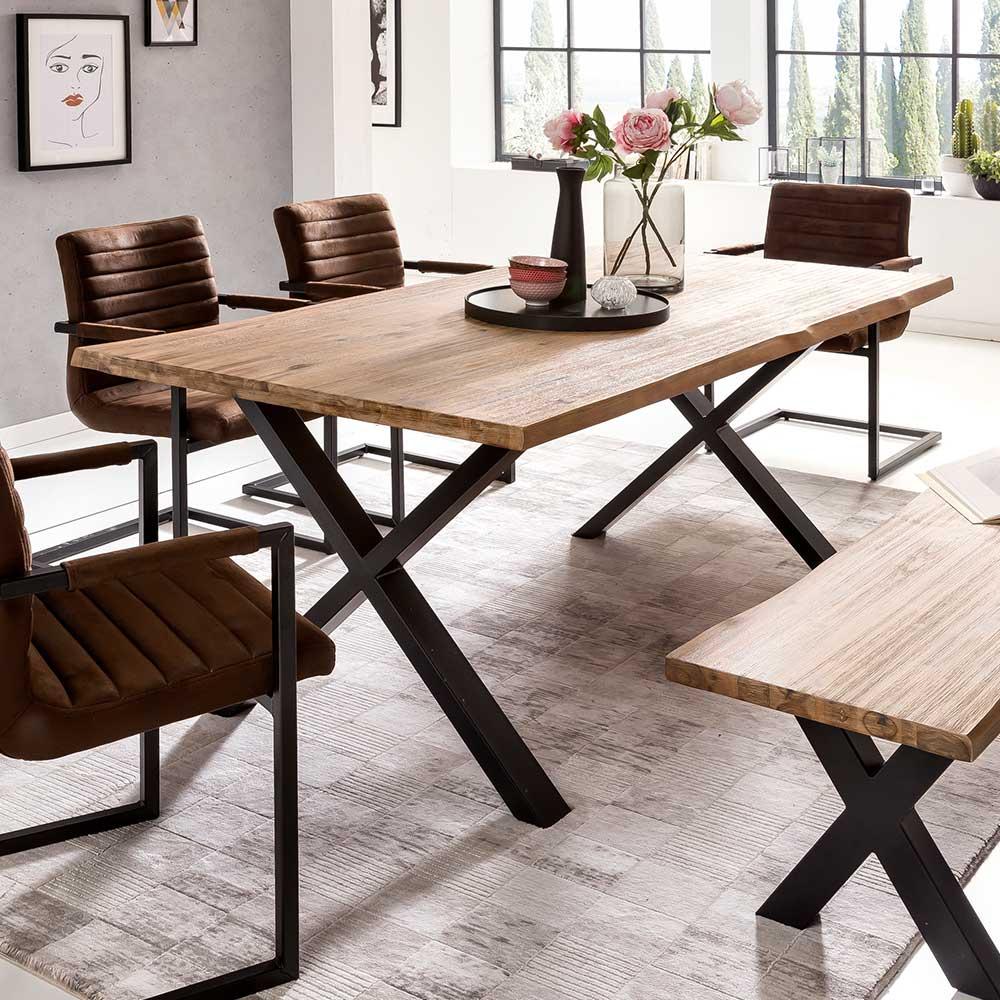 Baumkanten Esstisch aus Akazie White Wash massiv X-Füßen aus Metall