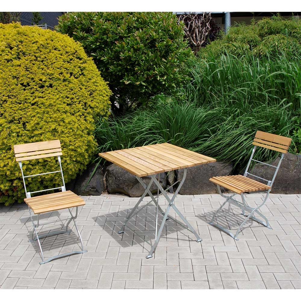 Klappbare Garten Sitzgruppe aus Robinie Massivholz Stahl in Zinkfarben (dreiteilig)
