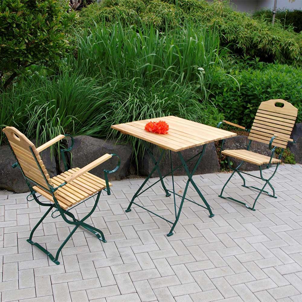 Klappbare Gartenmöbel aus Robinie Massivholz Stahl (dreiteilig)