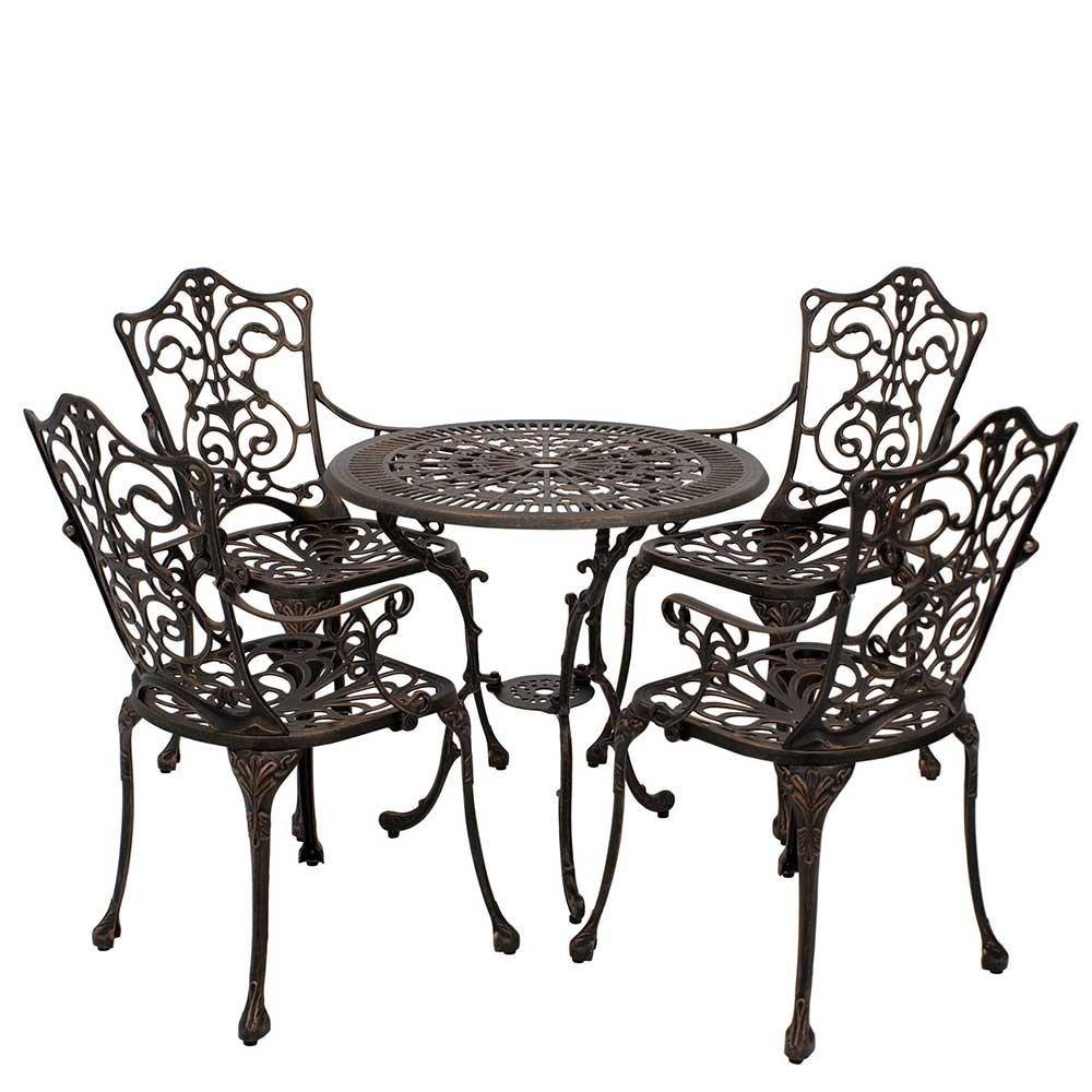 Vintage Garten Sitzgruppe in Bronzefarben Aluminium (fünfteilig)