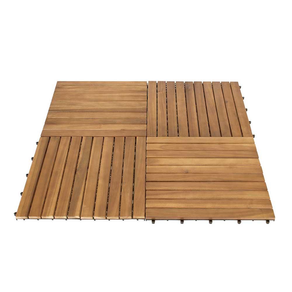 Balkon Holzfliesen Set aus Akazie Massivholz und Kunststoff 50 cm breit (5er Set) | Garten > Balkon > Balkon-Sets | 4Home