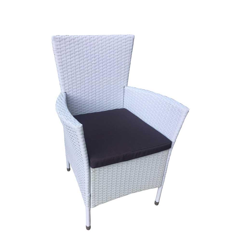 Garten Sessel in Weiß Kunstrattan Polsterauflagen in Grau (2er Set) | Garten > Gartenmöbel > Gartenstühle | 4Home
