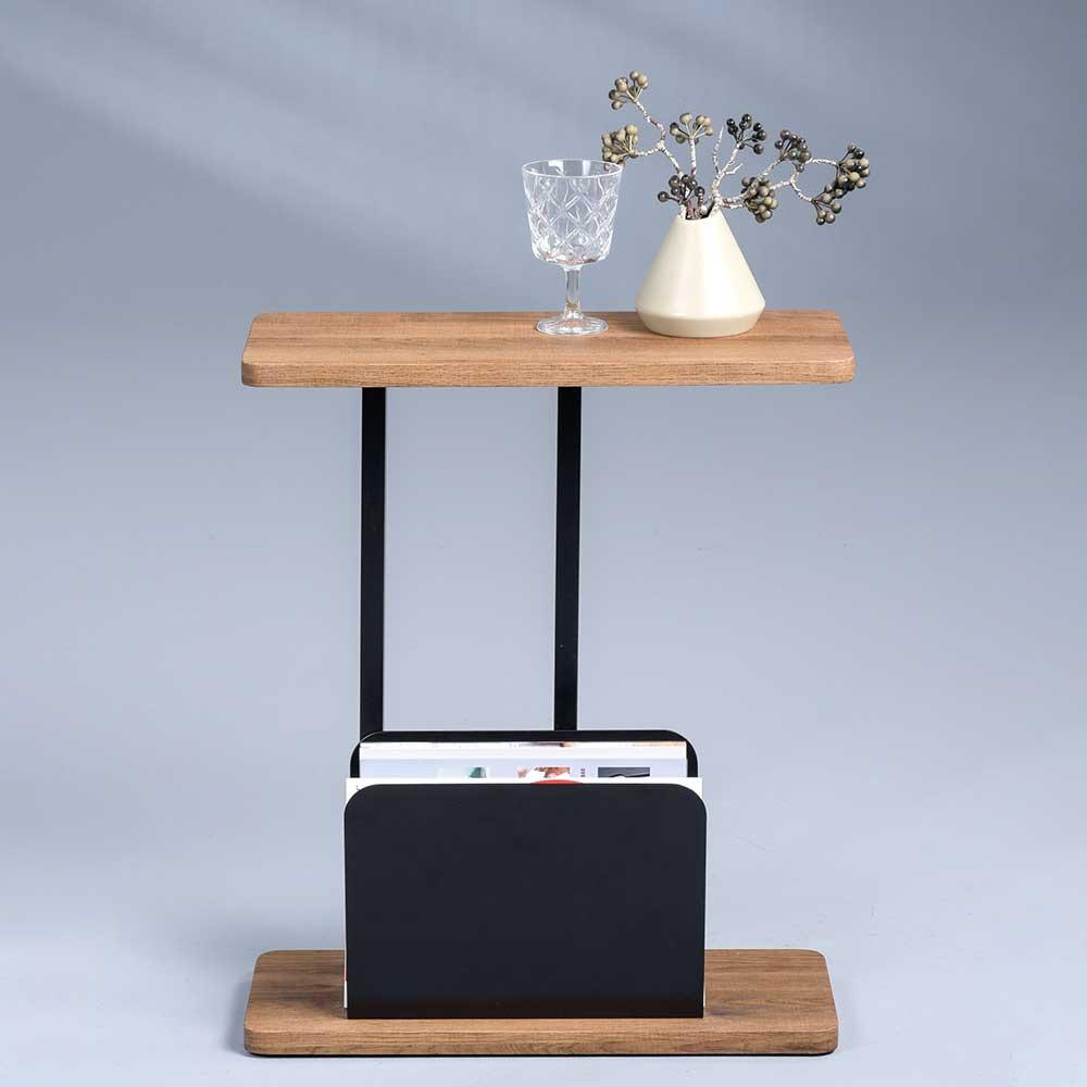 Telefontisch in Eichefarben und Schwarz 50 cm breit | Flur & Diele > Telefontische | Möbel4Life