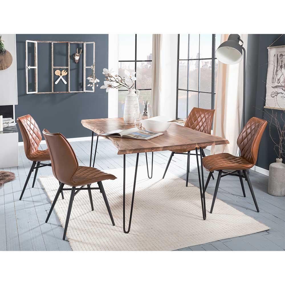 Design Essgruppe mit Baumkanten Esstisch Akazie Massivholz (5-teilig) | Küche und Esszimmer > Essgruppen > Essgruppen | Massivio
