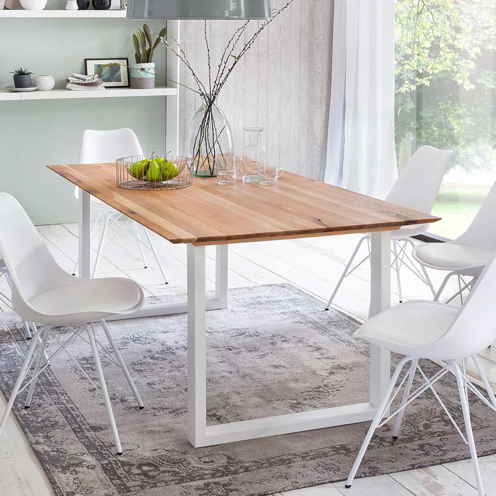 Küchentisch aus Eiche Massivholz Metall Bügelgestell in Weiß | Küche und Esszimmer > Esstische und Küchentische > Küchentische | Metall - Eiche - Massivholz - Massiv - Geölt - Holz | Massivio