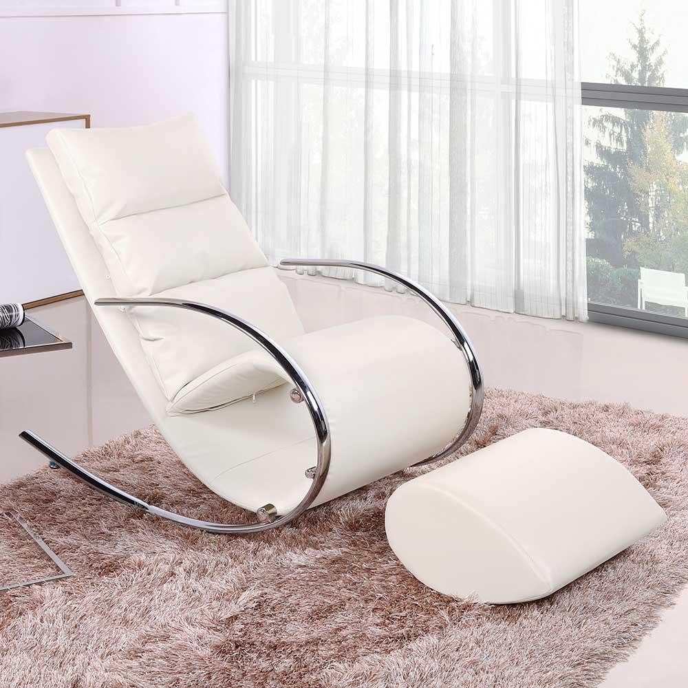Schaukelsessel in Weiß Kunstleder Fußhocker (2-teilig) | Wohnzimmer > Sessel > Schaukelsessel | Weiß | Metall - Kunstleder - Holzwerkstoff - Leder | BestLivingHome