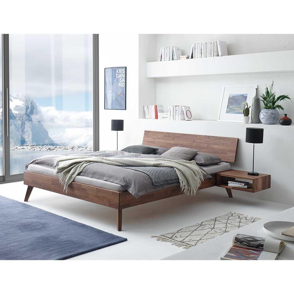 Einzelbett aus Nussbaum Massivholz hängender Nachtkonsole (zweiteilig)