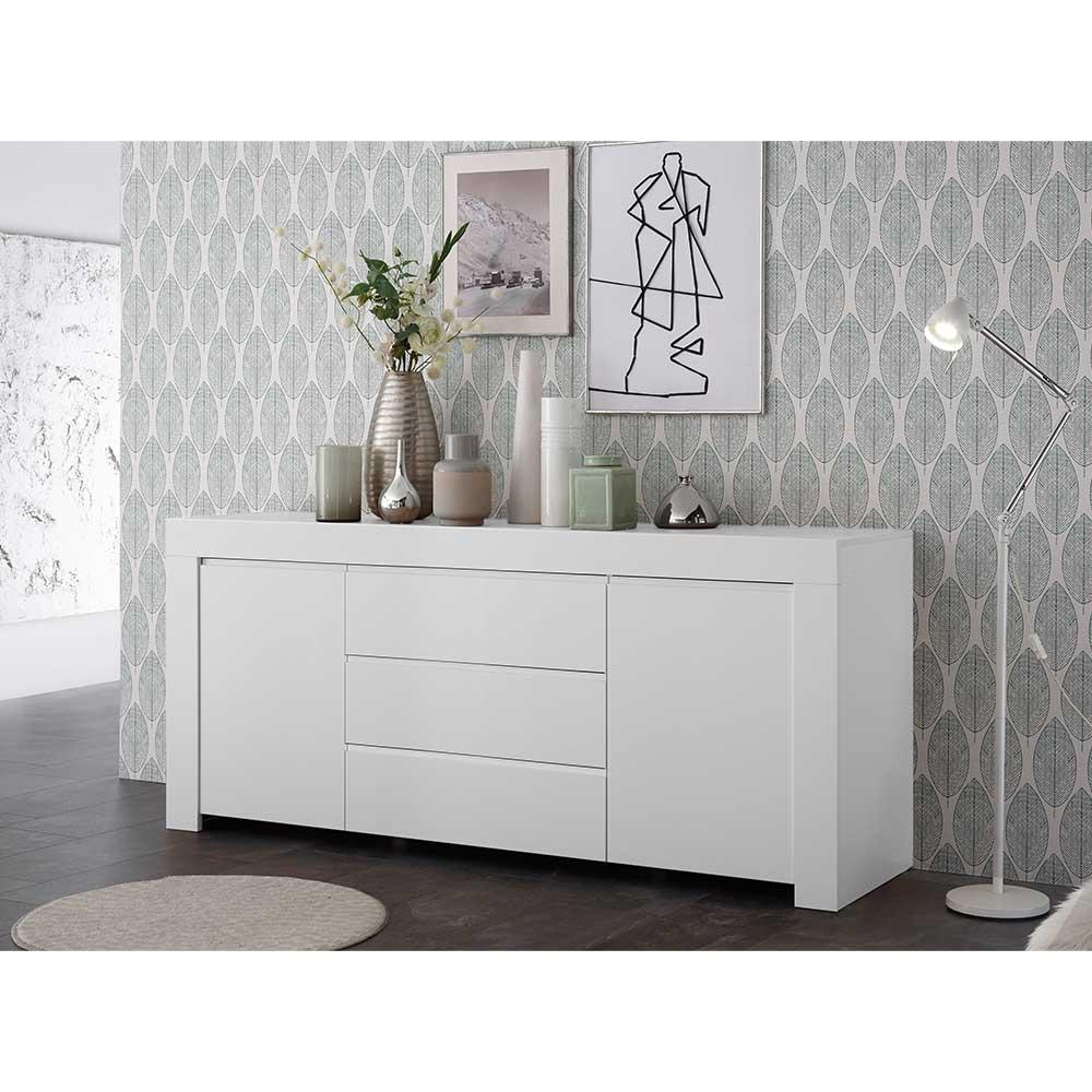 Esszimmer Kommode mit drei Schubladen Weiß lackiert