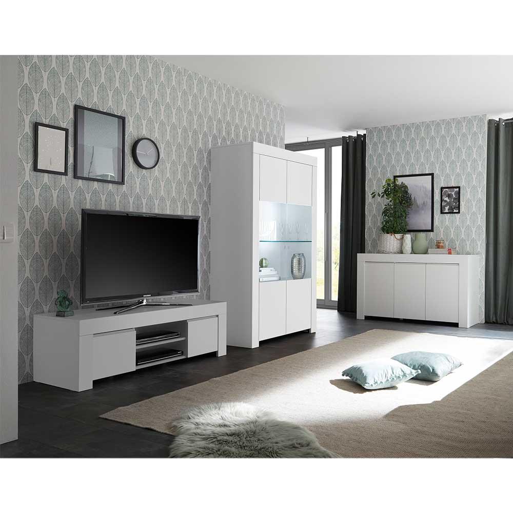 Wohnwand in Weiß modern (dreiteilig)