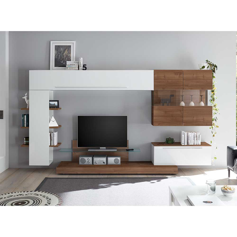Design TV Wohnwand in Weiß Hochglanz und Nussbaumfarben 305 cm breit (fünfteilig)