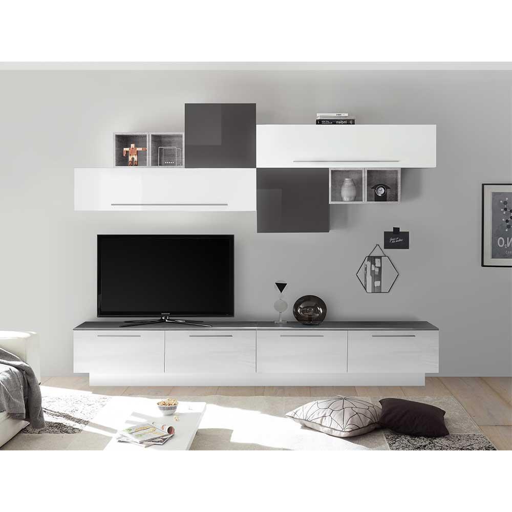 Design Wohnwand in Weiß Hochglanz und Anthrazit modern (zehnteilig)