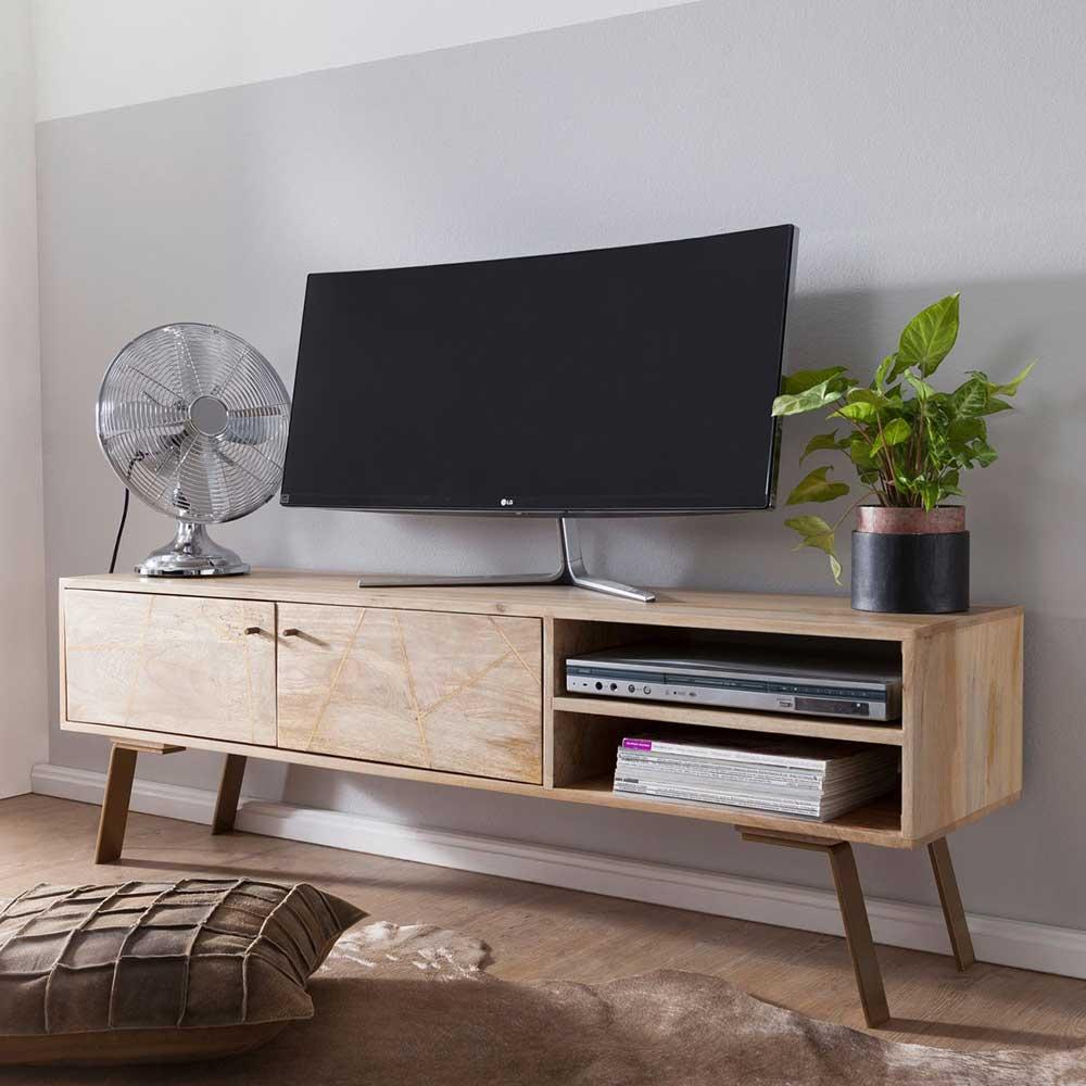 TV Lowboard aus Mangobaum Massivholz und Eisen 145 cm breit