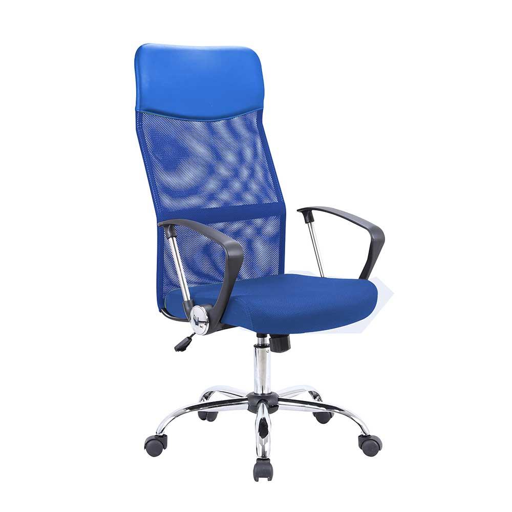 Schreibtischstuhl In Blau Netzrucken