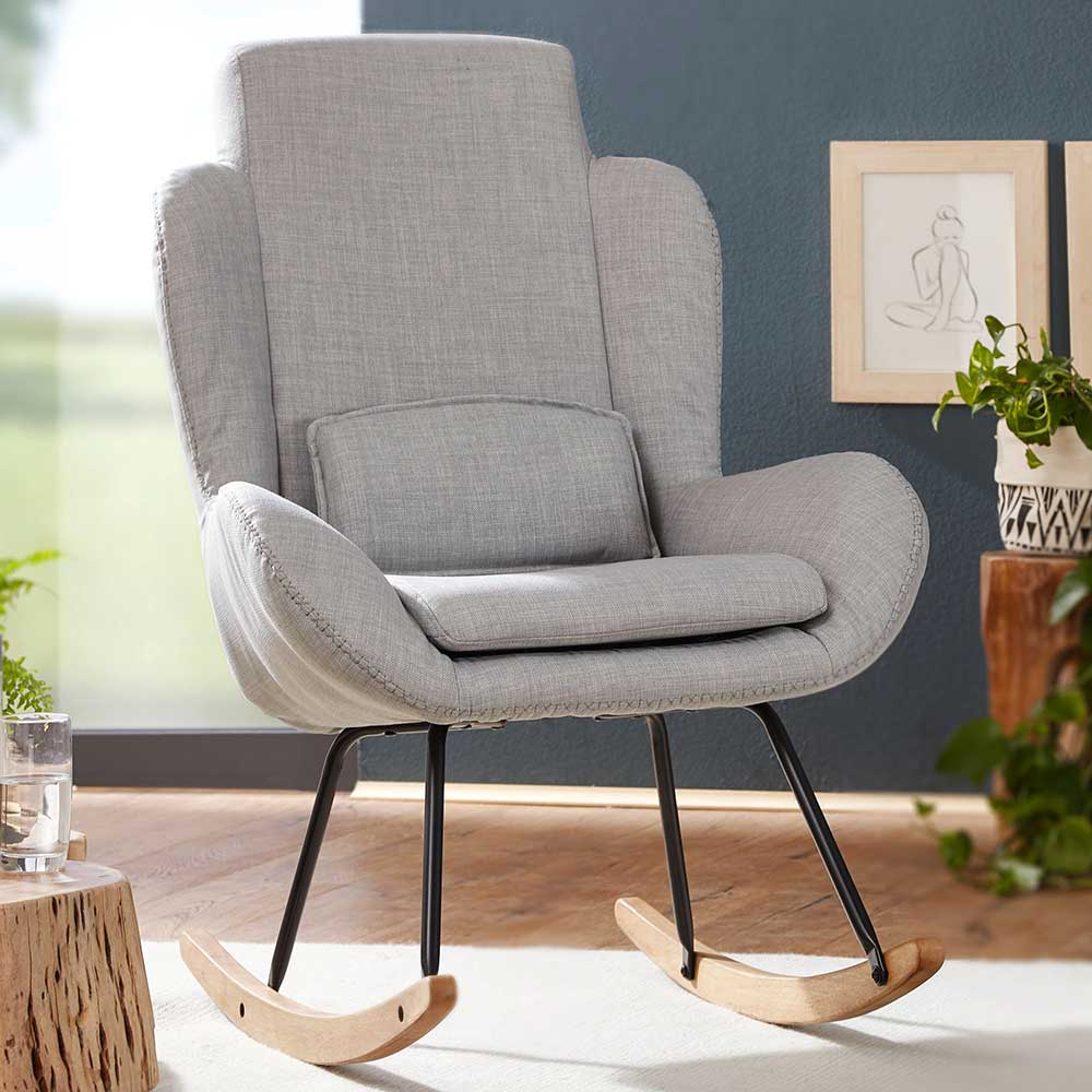 Schaukel Wohnzimmersessel in Grau Webstoff 110 cm hoch | Kinderzimmer > Spielzeuge > Schaukeln & Rutschen | Grau | Textil | Möbel4Life