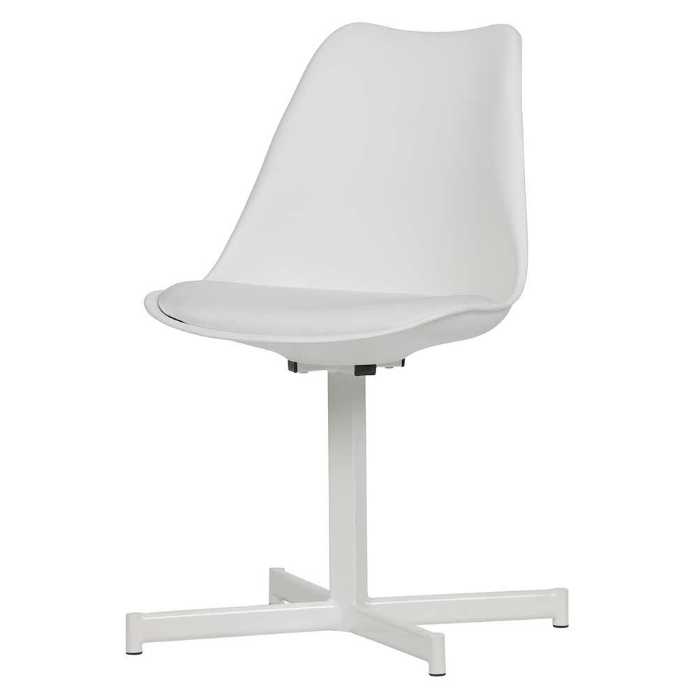 Esstisch Stühle in Weiß Kunststoff Metall Kreuzfuß (2er Set)