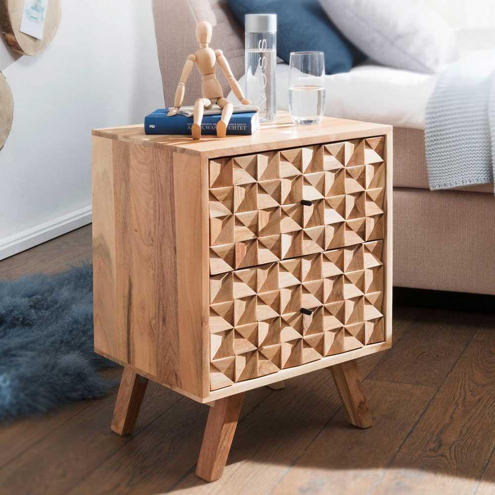 Nachttisch Kommode aus Akazie Massivholz handgearbeitet