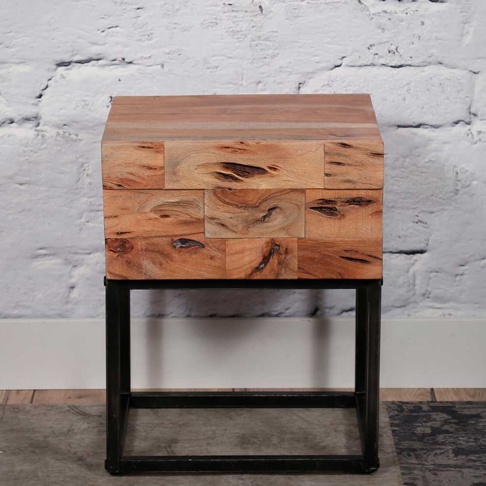 Nachtkonsole aus Akazie Massivholz und Metall 50 cm hoch (2er Set) | Schlafzimmer > Nachttische | Metall - Akazie - Massivholz - Lackiert | Rodario