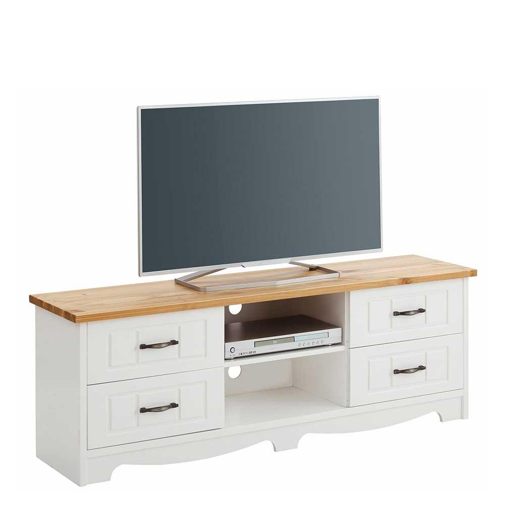 TV Möbel in Weiß und Kiefer Honigfarben Landhaus Design