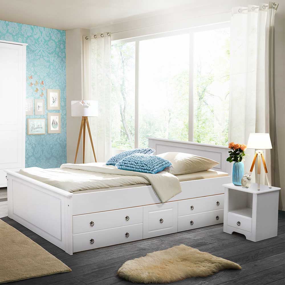 Komfortbett in Weiß Kiefer massiv Schubkästen (3-teilig) | Schlafzimmer > Betten > Komfortbetten | Weiß | Kiefer - Massivholz - Massiv - Lackiert | Massivio