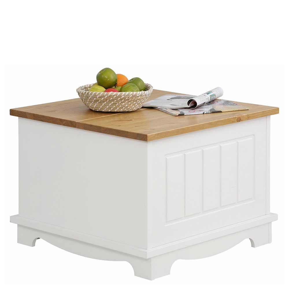 Landhaus Truhentisch in Weiß und Honigfarben Kiefer Massivholz | Wohnzimmer > Tische > Truhentische | Massivio