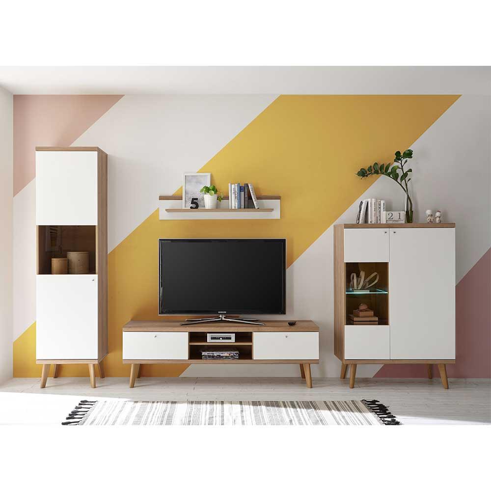 Fernseher Wohnwand in Weiß und Eiche 300 cm breit (vierteilig)